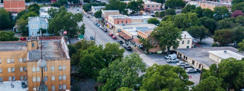 Bird's Eye View of Downtown New Braunfels, Texas