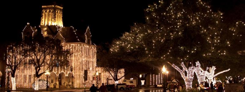 Beautiful Lights in Downtown New Braunfels, Texas