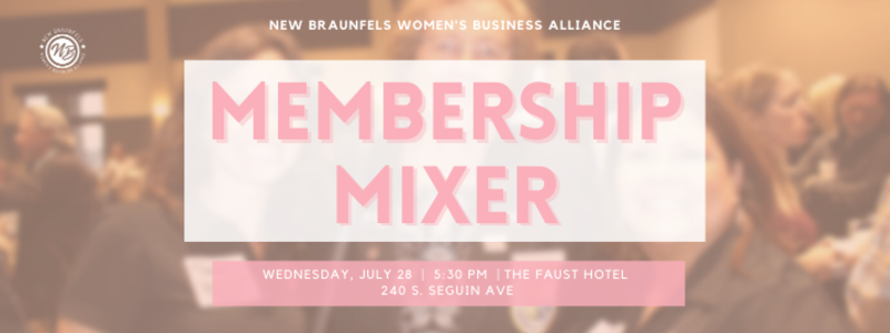 The Women's Business Alliance will hold their next mixer on July 28 at 5:30.