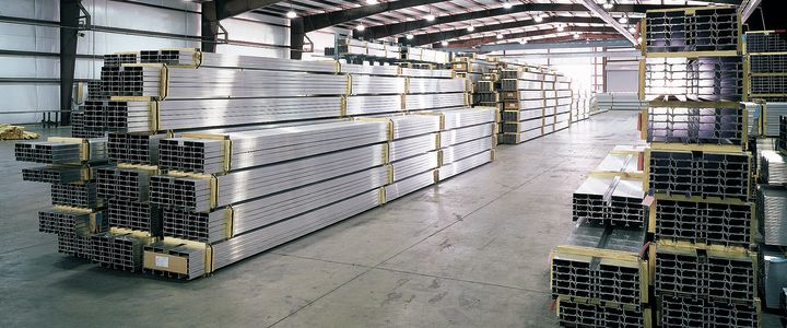Bleacher parts stacked for shipment at Southern Bleacher Company's warehouse