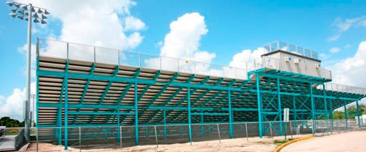 Steel bleacher support structures from Southern Bleacher at Archbishop McCarthy School
