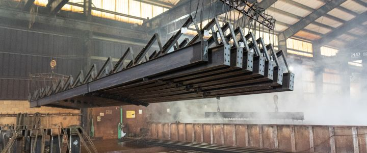 Metal structures being manufactured at Southern Bleachers warehouse