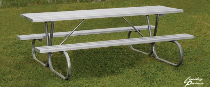An aluminum picnic table from Southern Bleacher Co.