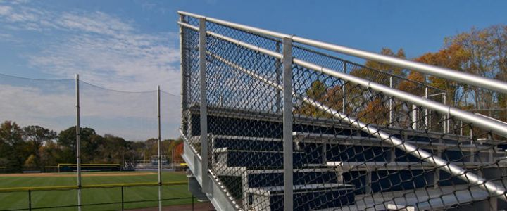 Chain link fencing along bleachers from Southern Bleacher Company
