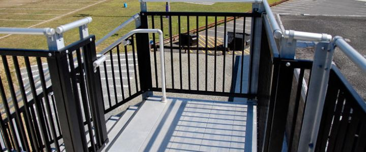 Vertical picket rail stadium fencing from Southern Bleacher Co.
