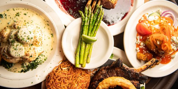 A platter of supper club dishes at Tornado Steakhouse