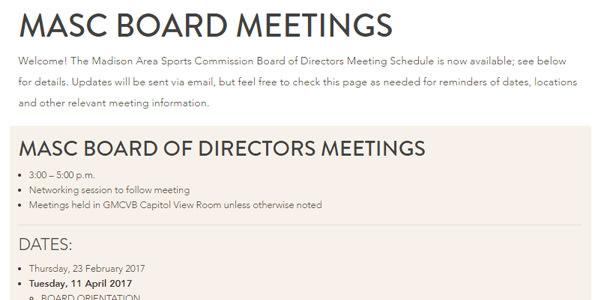 Meeting Schedule: MASC Board of Directors