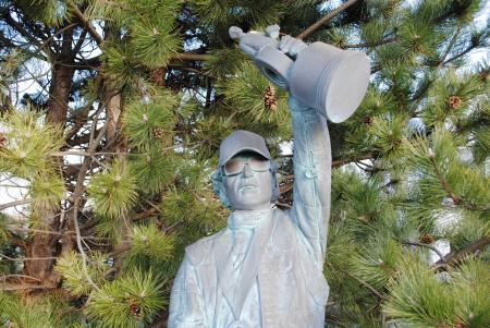 Eric Medlen statue at John Force Racing in Brownsburg