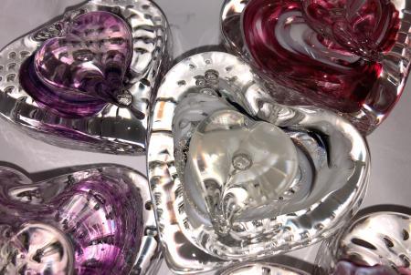 Hot Blown Glass heart paperweights