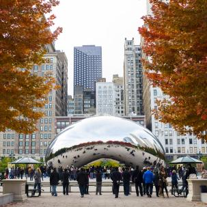 "Cloud Gate aka ""The Bean"" in Millennium Park Chicago"