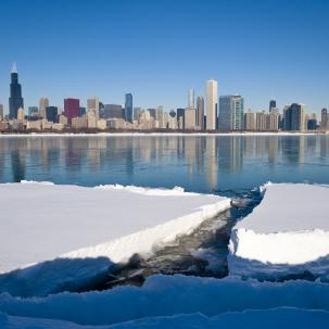 Chicago Skyline Snow