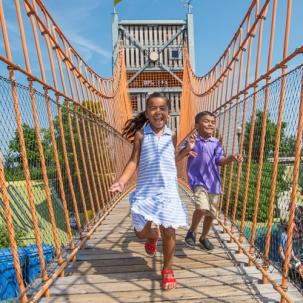 children on bridge