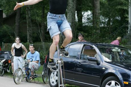 Man Riding Unicycle at Louisiana Bicycle Festival
