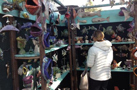 Women Shopping for Pottery at Three Rivers Art Festival in Louisiana North Shore