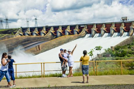 Tourists in front of Itaipu Dam