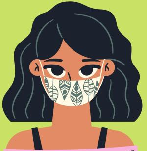 Woman wearing a mask graphic