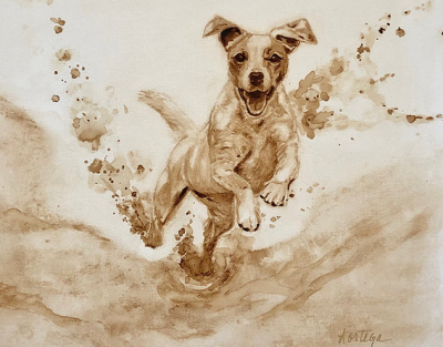 Coffee painting of a jack Russell terrier by Leslee Ortega