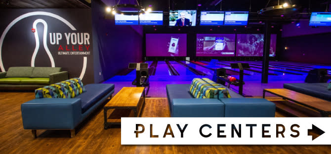 Up Your Alley seating and bowling alley area