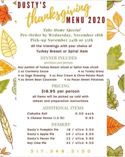 Dusty's Cellar Thanksgiving 2020 Flyer