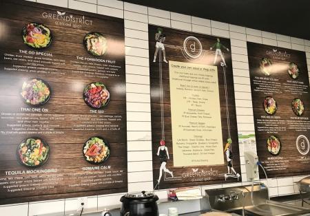 Green District Salads menu board