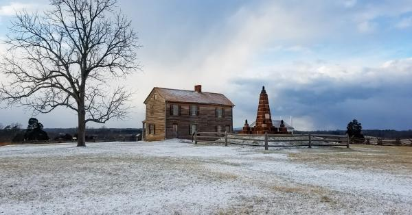 snowy grounds in front of Henry Hill House at Manassas Battlefield