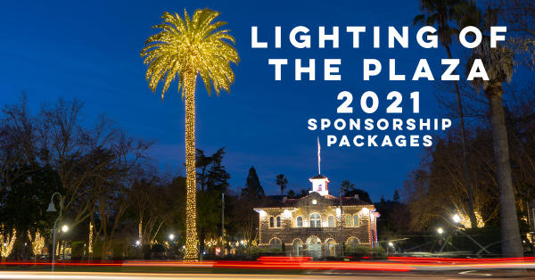 A slide with the words Lighting of the Plaza 2021 Sponsorship Packages