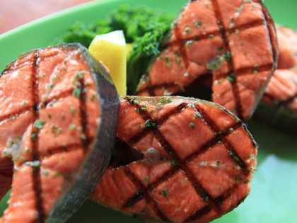 SAlmon steaks at Bridge Seafood restaurant