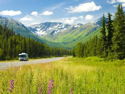 Alaska RV tours and scenic road trips near Anchorage, Alaska