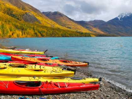 Kayaks on the shore of Eklutna Lake outside Anchorage