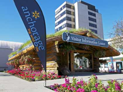 The Visitor Information Center in downtown Anchorage, Alaska is a log cabin with a sod roof.
