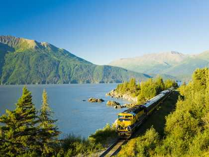 Alaska Railroad train on Turnagain Arm
