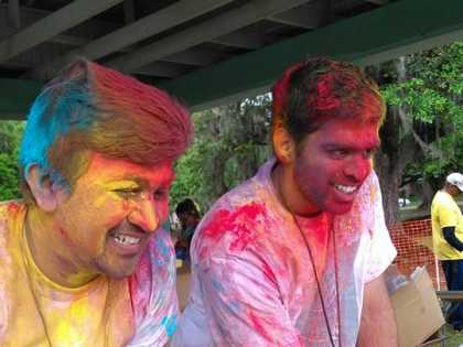 Event Organizers covered in color dust at Lafayette Holi Festival