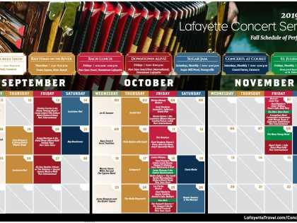 2019 Fall Concert Series Calendar