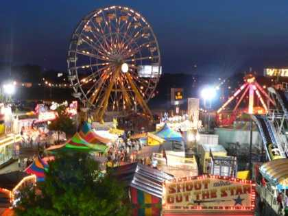 An aerial view of the Cajun Heartland State Fair held at Cajundome in Lafayette, LA