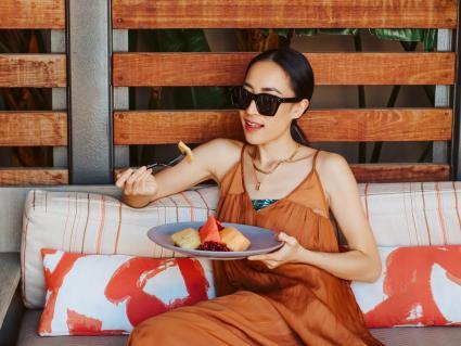 Marriott Irvine Spectrum Enjoying a Fruit Platter