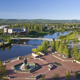 Aerial View Of Downtown Fairbanks And The Golden Heart Park During Summer In Alaska