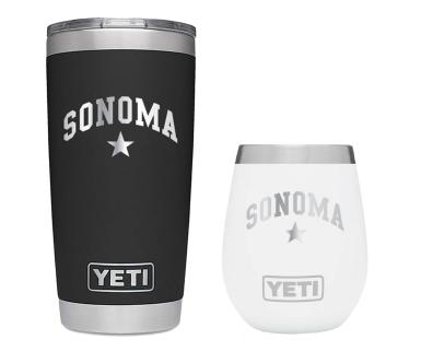 Two thermal mugs from Yeti with Sonoma written on them
