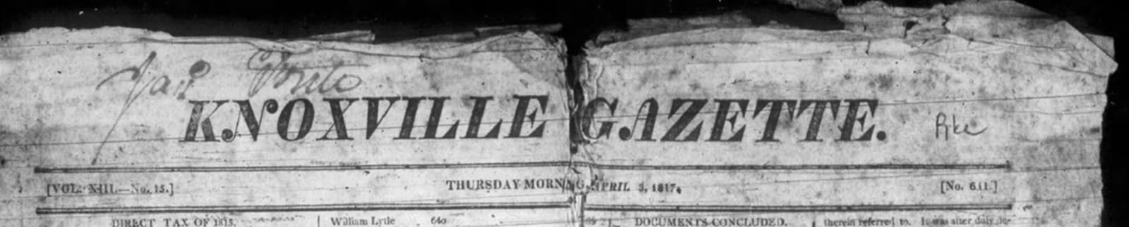 Knoxville Gazette Masthead
