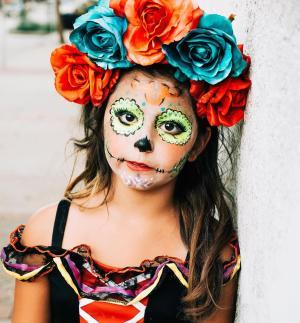 Little girl made up for Dia de los Muertos