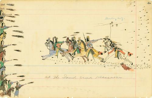 Ledger drawing by Howling Wolf, circa 1874-1875; Depicting the Sand Creek Massacre in Eads, Colorado.