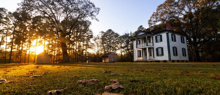 Bentonville's Harper House as the sun sets