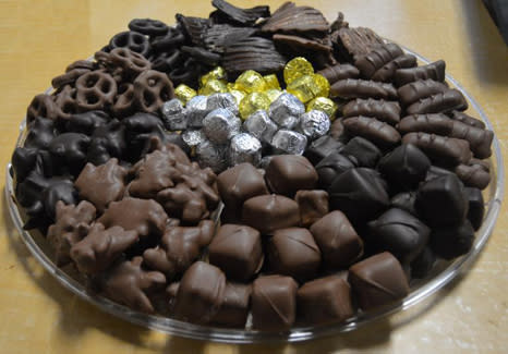 Platter filled with a variety of chocolates from Angel and Phelps Chocolate Factory in Daytona Beach