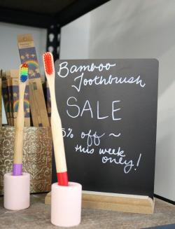 Bamboo toothbrushes from Scoop Marketplace