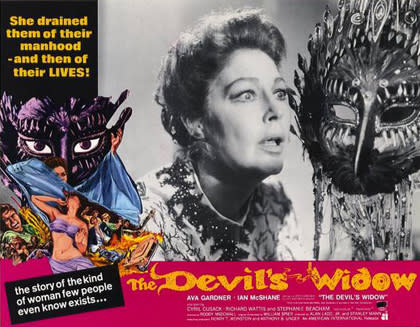 Lobby card for The Devil's Widow featuring Ava Gardner.