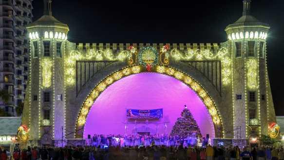 Bandshell with Holiday Lights