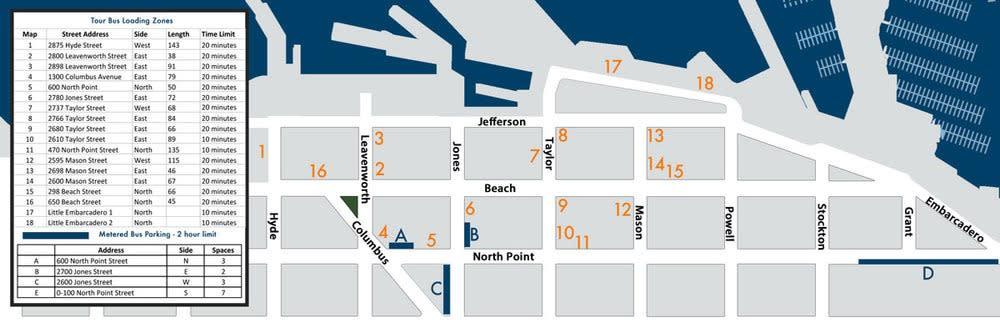 Tour Bus Loading & Parking Map