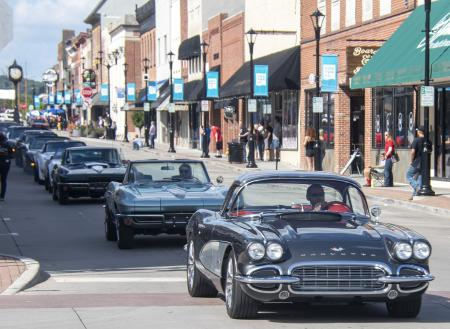 STOCK IMAGE Corvettes, hot rods, parade of cars