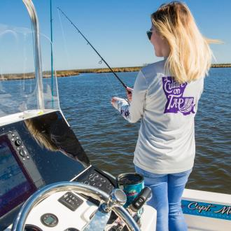 Anna fishing in Slidell, Capt. Mike Gallo, Culture on Tap
