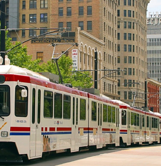 Trax passing 300 S in downtown Salt Lake
