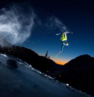 Tony Rossi Skiing at Alta at Night